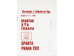 Program k utkání TRNAVA vs. Sparta Praha, 1988