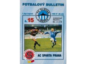Fotbalový bulletin Liberec vs. Sparta Praha, 1996