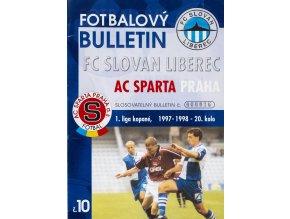 Fotbalový bulletin Liberec vs. Sparta Praha, 1998