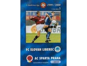 Fotbalový bulletin Liberec vs. Sparta Praha, 1999