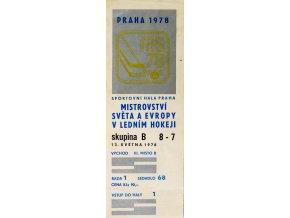 Vstupenka hokej Praha 1978 , skupina B, 8 7, 13. května 1978