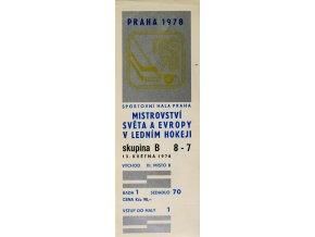 Vstupenka hokej Praha 1978 , skupina B, 8 7, 13. května 197870