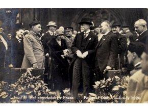 Dobová pohlednice, Prezident Masaryk a Dr. Bukovský na sletu v roce 1932 (1)