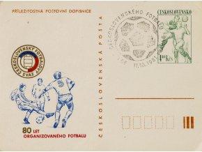 Příležitostná dopisnice 80. let fotbalu, podpis Plánička, 1981 (1)