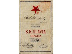 Členská legitimace P.T. klubu S.K.SLAVIA PRAHA z roku 1928 30