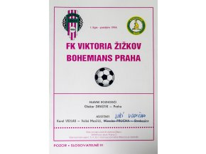 Program FK Viktoria Žižkov v. BohemiansPraha ,1996
