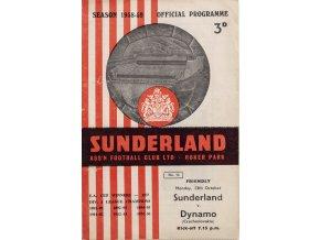 Program official, Sunderland Assn Football Club v. Dynamo Czechoslovakia ( Slavia), 1958 (1)