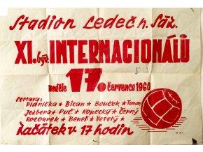 Plakát  utkáni Internacionálů, Plánička, Bican, 1960