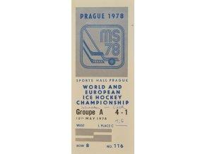 Vstupenka hokej Praha 1978 Groupe A 10. května 1978 sport antique cervec 17 (89)