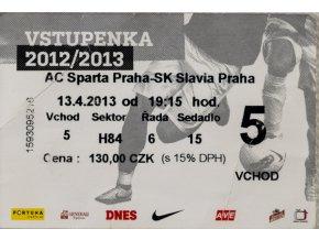 Vstupenka fotbal, AC Sparta Praha v. SK Slavia Praha, 2013