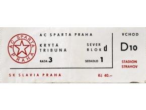 Vstupenka fotbal, AC Sparta Praha v. SK Slavia Praha, Strahov, 1994