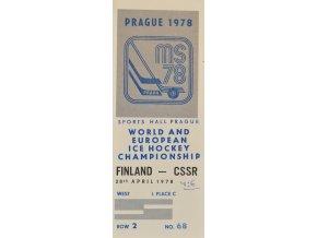 Vstupenka hokej Praha 1978 Groupe A 28. dubna 1978 sport antique cervec 17 (87)