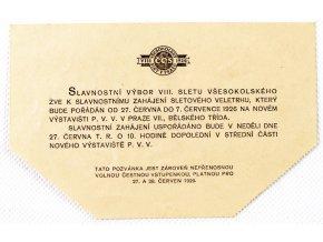 Pozvánka , K slavnostnímu zahájení VII. všesokolského sletu, 1926