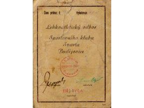 Průkaz Lehkoatletického odb. SK Sparta Budějovice, 1945 (1)