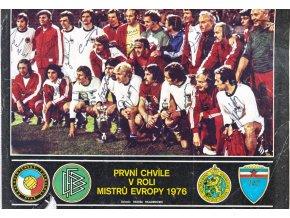 Plakát z čas. Stadion, ME 1976, autogramy fotbalistů národního týmu