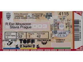 Vstupenka Coupe d Europe, R.Exc.Mouscron v. Slavia Prague, 2002 (1)