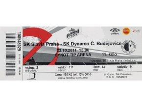 Vstupenka fotbal SK Slavia Praha vs. SK Dynamo Č. Budějovice, 2011