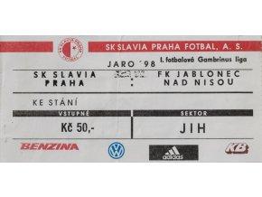 Vstupenka fotbal SK Slavia Praha vs. FK Jablonec, 98
