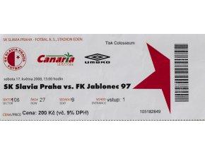 Vstupenka fotbal SK Slavia Praha vs. FK Jablonec, 2008
