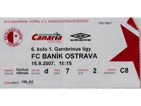 Vstupenka fotbal SK Slavia Praha vs. FC Baník Ostrava, 2007
