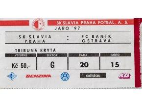 Vstupenka fotbal SK Slavia Praha vs. FC Baník Ostrava, 1997