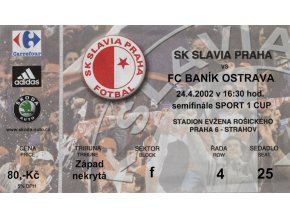 Vstupenka fotbal SK Slavia Praha vs. FC Baník Ostrava, 2002