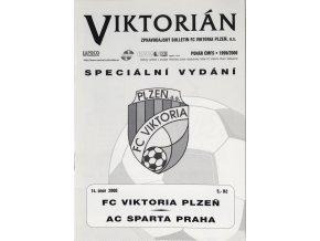 Program FK Viktoria Plzeň v. AC Sparta Praha, Pohár ČMFS, 2000