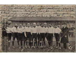Dopisnice, fotbalový tým s vepsanými výsledky (3)