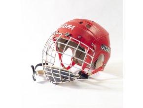Hokejová přilba JOFA s krytem, červená (1)