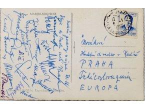 Pohlednice , Pozdrav Slavie z Maroka, autogramy, 1966 (1)
