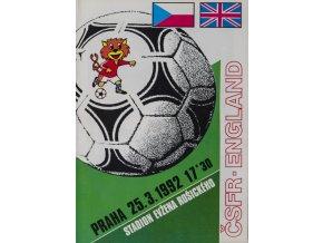 Program fotbal ČSFR vs. ENGLAND, 1992