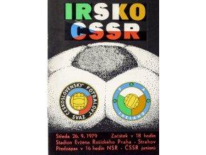 Program fotbal ČSSR vs. IRSKO, 1979