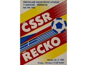 Program fotbal ČSSR vs. Řecko, 1982
