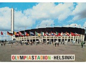 Pohlednice stadión, Olympia staduíon Helsinki (1)