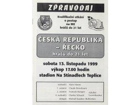 Program fotbal , ČR v. Řecko, U21, 1999