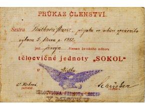 Průkazka tělocvičné jednoty SOKOL,1912 (1)