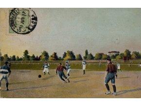 Dobová pohlednice footbalovy zápas, 1907 II (1)