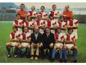 PF 1973 - Pohlednice týmu  TJ Slavia Praha, podpis
