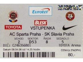 Vstupenka fotbal, AC Sparta Praha v. SK Slavia Praha, 2006