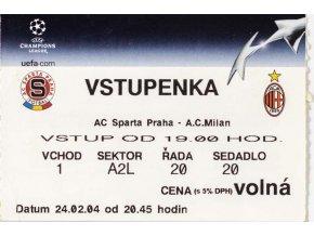 Vstupenka fotbal, AC Sparta Praha v. AC Milan, 2004