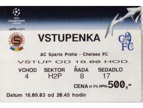 Vstupenka fotbal, AC Sparta Praha v. Chelsea FC, 2003