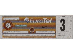 Vstupenka fotbal, AC Sparta Praha v. Sk Slavia Praha, 2001