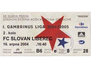 Vstupenka fotbal, SK Slavia Praha v. FC Slovan Liberec, 2004