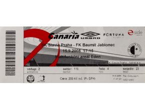 Vstupenka fotbal, SK Slavia Praha v. FK Baumit Jablonec, 2008