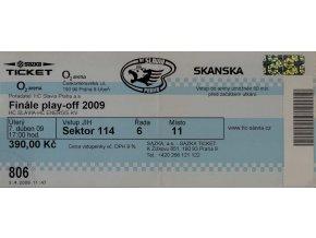 Vstupenka fotbal, HC Slavia Praha v. HC Energie KV, 2009