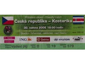 Vstupenka fotbal, ČR v. Kostraika, 2006