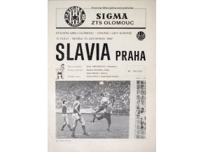 Program Sigma ZTS Olomouc v. Slavia Praha, 1987
