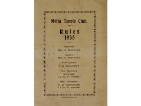 Pravidla, Mvita Tennis Club, Mombasa, Rules 1935