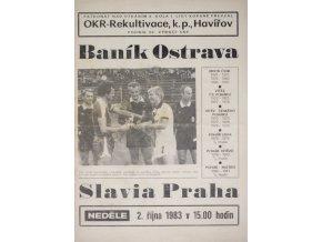 Program TJ Baník Ostrava vs. Slavia Praha IPS, 1983 velký formát