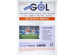 Program THanácký gól, Olomouc vs. Slavia Praha IPS, 1993 velký formát